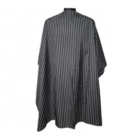 H&R - Barber Cape - Black with White Stripes - Hook