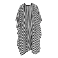 H&R - Barber Cape - White with Black Stripes - Hook