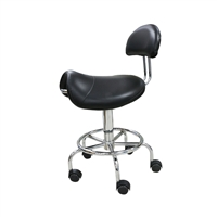 H&R - Saddle Stool With Backrest - Black