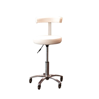 Silver Fox - Stool with Back Rest - White